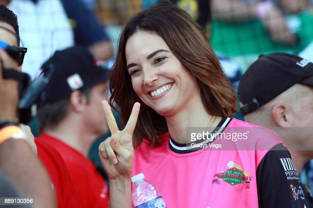 Denise Quinones Miss Universe 2001 actress and singer participates to the Yadier Molina Celebrity Softball Game at Hiram Bithorn Stadium on December...