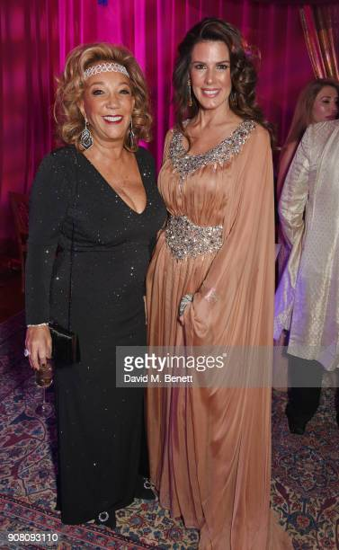 Denise Rich and Christina Estrada attend Lisa Tchenguiz's birthday party on January 20 2018 in London England