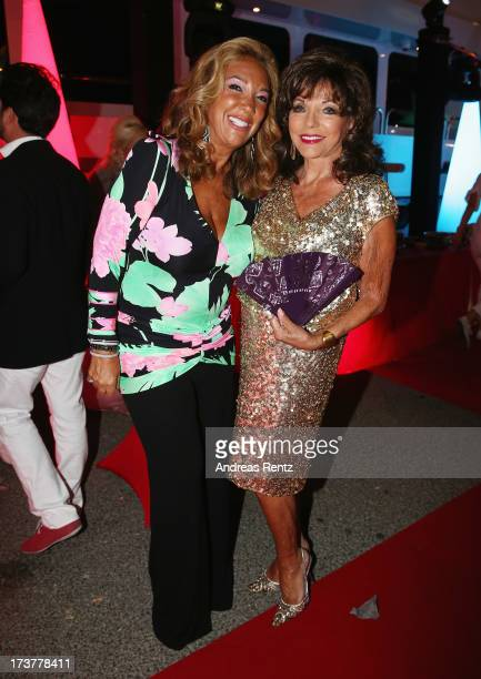 Denise Rich and Joan Collins attend the Denise Rich annual party on July 17 2013 in SaintTropez France