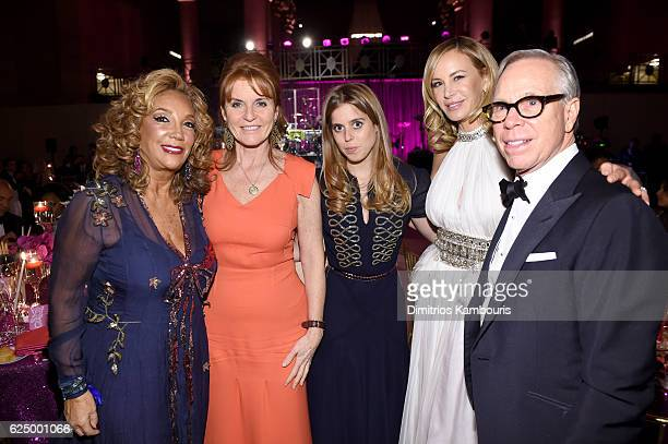 Denise Rich Duchess of York Sarah Ferguson Princess Beatrice of York and Dee Ocleppo and Tommy Hilfiger attend the 2016 Angel Ball hosted by...