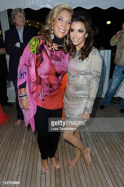 Denise Rich poses with Eva Longoria at Cannes Cocktail Evening hosted by Eva Longoria and Denise Rich and produced by Total Management and MandA...