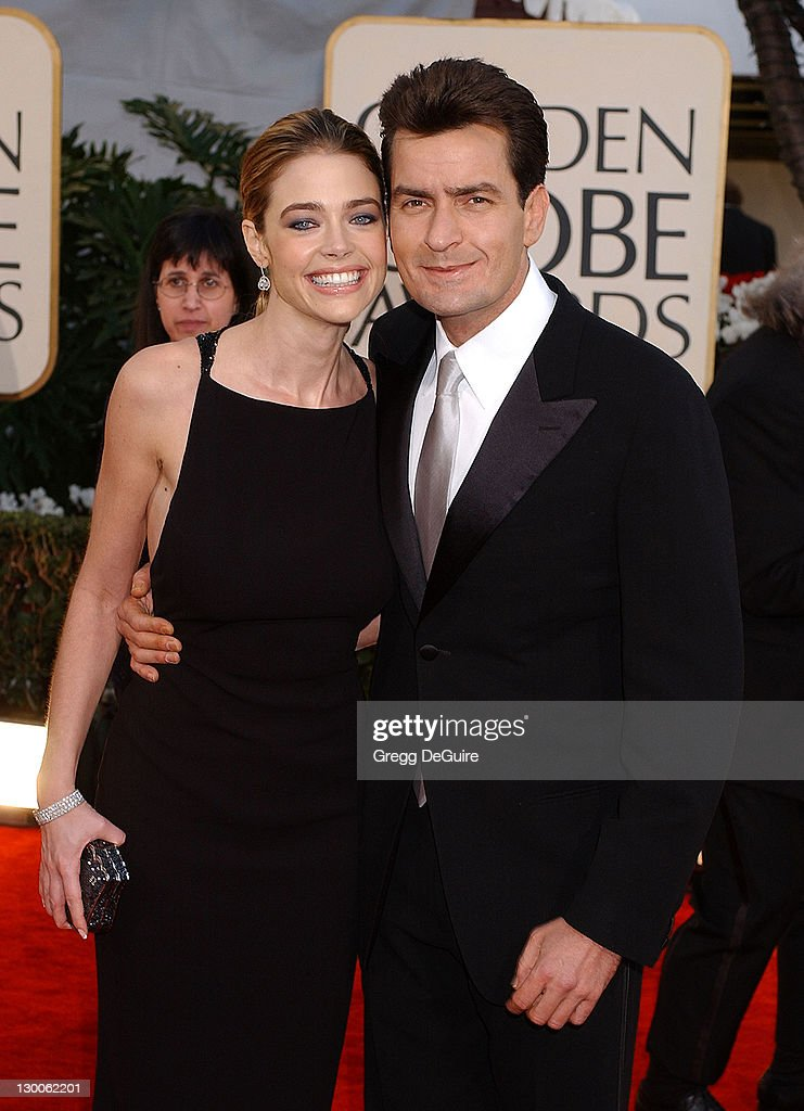 Denise Richards and Charlie Sheen arrive at the Golden Globe Awards at the Beverly Hilton January 20, 2002 in Beverly Hills, California.