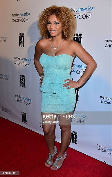 Denise Sanchez arrives at Market America event on February 8 2014 in Miami Beach Florida