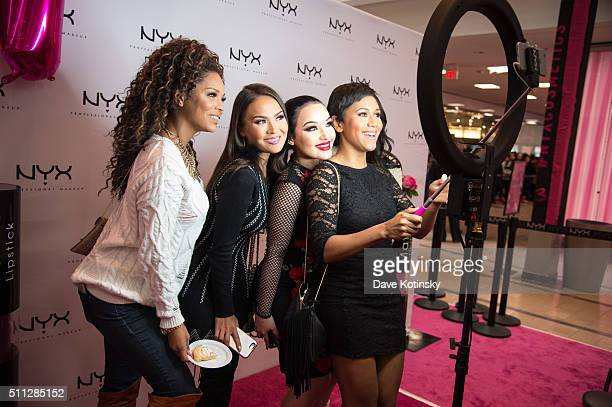 Denise Sanchez Maryam Maquillage Amanda Ensing and Shameless Maya attend the NYX Professional Makeup Store Willowbrook Grand Opening Ribbon Cutting...