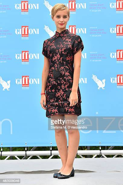 Denise Tantucci of 'Braccialetti Rossi' Tv Series attends Giffoni Film Festival 2015 Day 10 photocall on July 26 2015 in Giffoni Valle Piana Italy