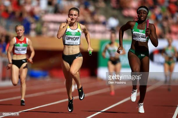 Denise Uphoff of Germany crosses the finish line to win gold for Germany in the final of the women's 4x100m on day five of The IAAF World U20...