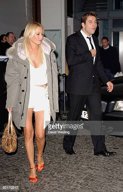 Denise Van Outen and David Walliams leave the Universal Music/Island Records aftershow party following the BRIT Awards 2005 at Bluebird February 9...