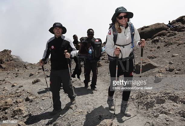 Denise Van Outen and Gary Barlow arrive in camp on day six day of The BT Red Nose Climb of Kilimanjaro on March 5 2009 near Arusha Tanzania...