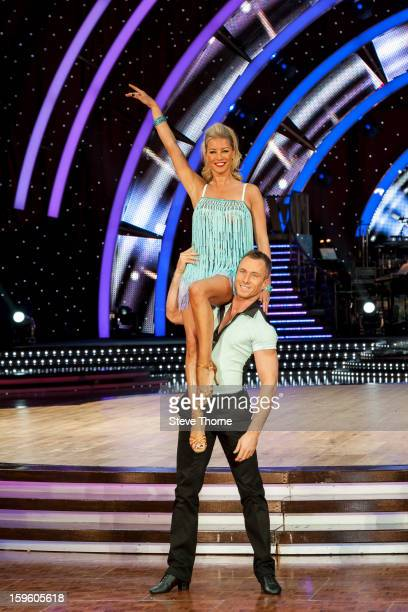 Denise Van Outen and James Jordan attend a photocall ahead of the Strictly Come Dancing Live Tour at NIA Arena on January 17 2013 in Birmingham...