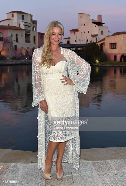 Denise van Outen arrives at the Gala Dinner following The Costa Smeralda Invitational Golf Tournament at Pevero Golf Club Costa Smeralda on June 27...