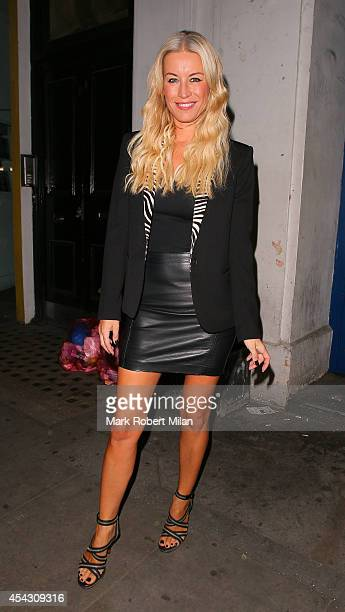 Denise Van Outen leaving the Arts theatre after her performance in Some Girl I Used To Know on August 28 2014 in London England