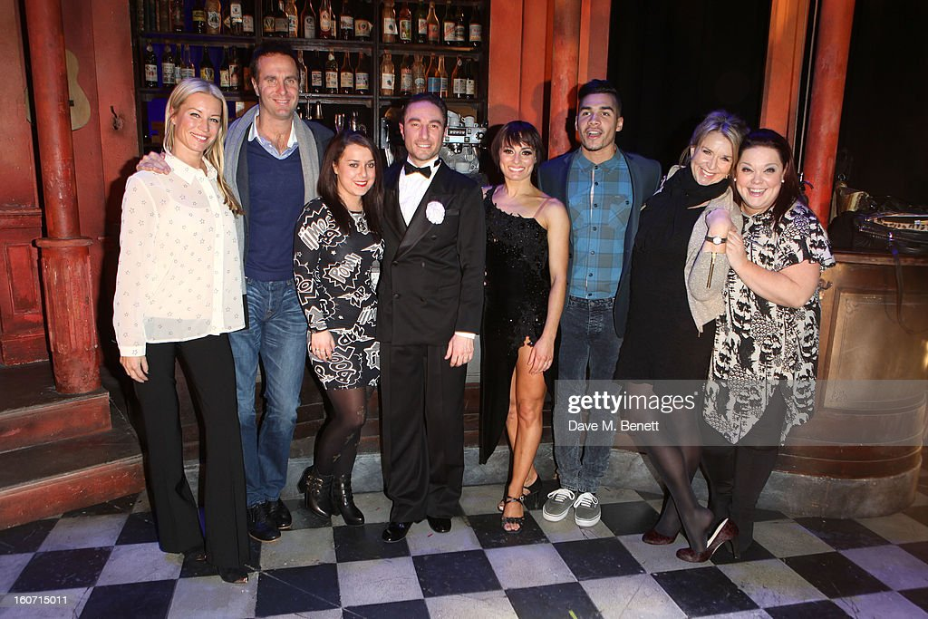Denise Van Outen, Michael Vaughan, Dani Harmer, Vincent Simone, Flavia Cacace, Louis Smith, Fern Britton and Lisa Riley attend opening night of 'Midnight Tango' at the Phoenix Theatre on February 4, 2013 in London England.