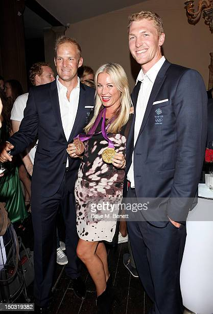 Denise Van Outen poses with Alex Partridge and Alex Gregory at the Samsung Galaxy Note 101 launch party at One Mayfair on August 15 2012 in London...
