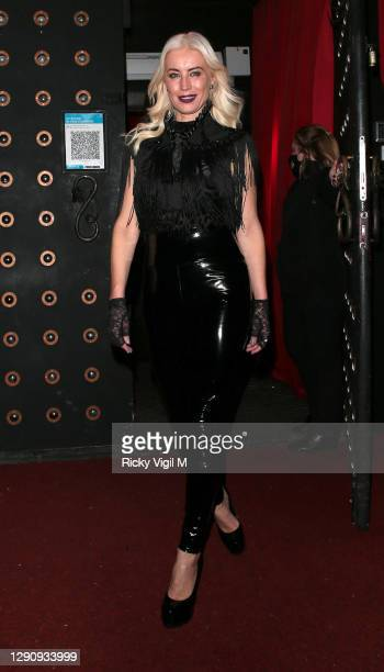 "Denise van Outen seen leaving Proud Embankment after ""Cabaret All Stars"" on December 12, 2020 in London, England."