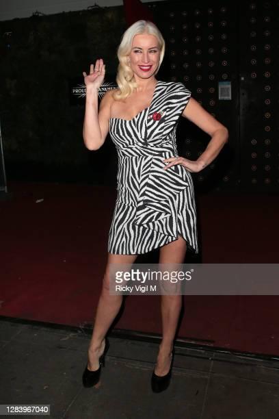 Denise van Outen seen leaving Proud Enbankment after her last performance before lockdown on Cabaret All Stars show on November 04, 2020 in London,...