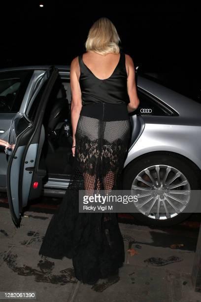 Denise van Outen seen leaving Proud Enbankment after her performance on Cabaret All Stars show on October 24, 2020 in London, England.