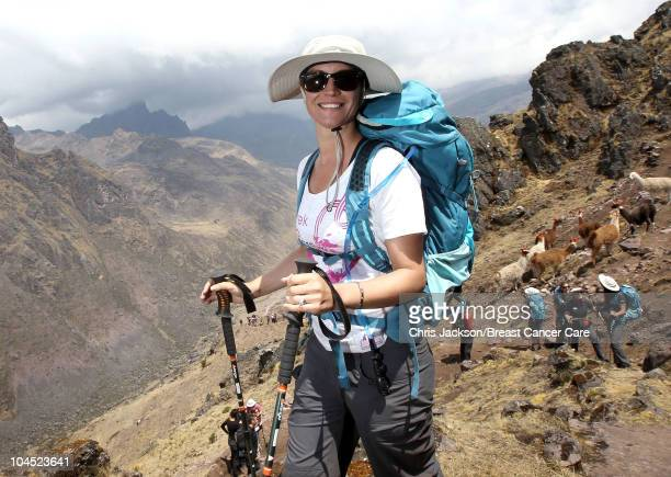 Denise Van Outen treks in the Kunkani area on day two of Denise and Fearne's Charity Trek for Breast Cancer Care on September 28 2010 in Lares Peru...