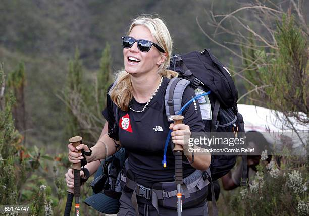 Denise Van Outen treks up Kilimanjaro on the second day of The BT Red Nose Climb of Kilimanjaro on March 1 2009 in Arusha Tanzania Celebrities Ronan...