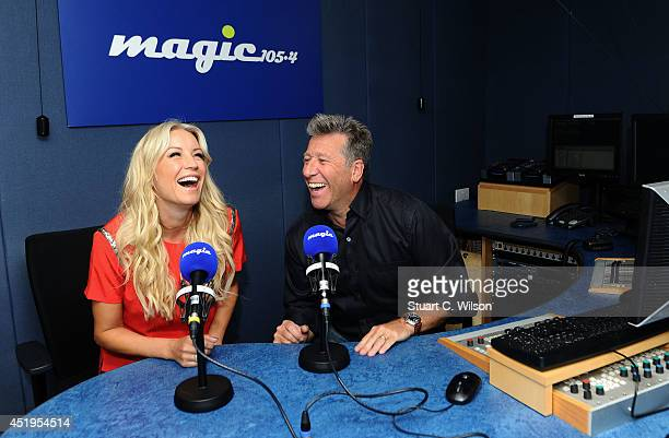 Denise Van Outen visits Neil Fox on MagicFM at Magic FM Studio on July 10 2014 in London England
