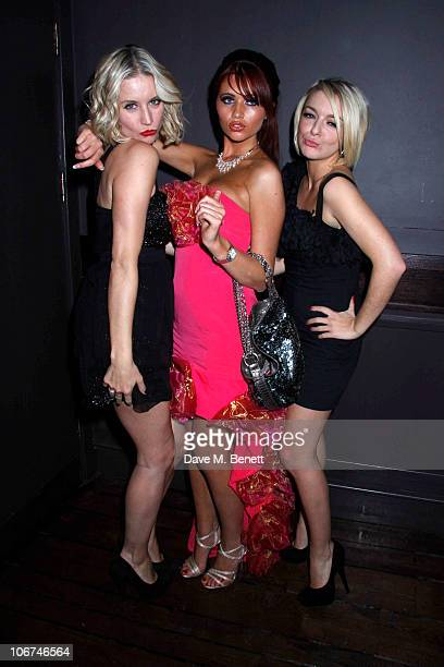 Denise Van Outen with Amy Childs and Sheridan Smith attend the cast change party for Legally Blonde at the Opal Bar on November 10 2010 in...