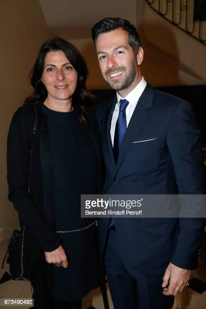 Denise Vilgrain and Christos Markogiannakis attend the presentation of the Book 'Scenes De Crime au Louvre' written by Christos Markogiannakis at...