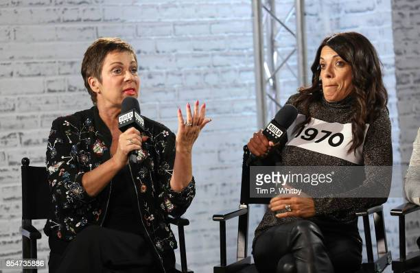 Denise Welch and Jenny Powell discuss the medias role in ageism during a BUILD LND event at AOL on September 27, 2017 in London, England.