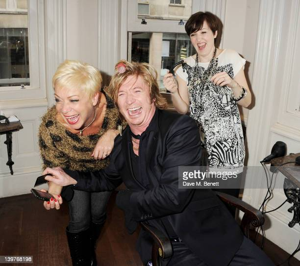 Denise Welch and Kacey Ainsworth get expert tuition from celebrity hairdresser Nicky Clarke in preparation for the upcoming national tour of Steel...