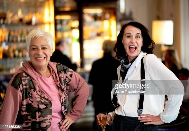 """Denise Welch and Ky Holye pose for a photo during the """"Henpire"""" podcast launch event at Langham Hotel on September 10, 2020 in London, England."""