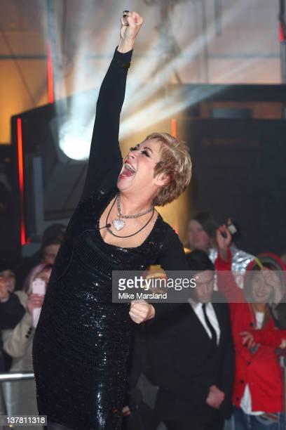 Denise Welch celebrates winning Celebrity Big Brother 2012 at Elstree Studios on January 27 2012 in Borehamwood England