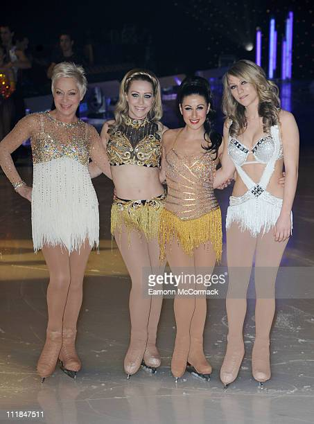 Denise Welch Laura Hamilton Hayley Tamaddon and Chloe Madeley pose for the cameras ahead of Dancing on Ice The Tour 2011 at Motorpoint Arena on April...