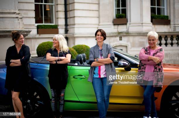 Denise Welch Samantha Fox Heather Peace and Patricia Potter pose with the rainbow Bentley during the Henpire podcast launch event at Langham Hotel on...