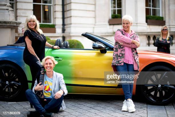 Denise Welch Samantha Fox Samantha Grierson pose with the rainbow Bentley during the Henpire podcast launch event at Langham Hotel on September 10...