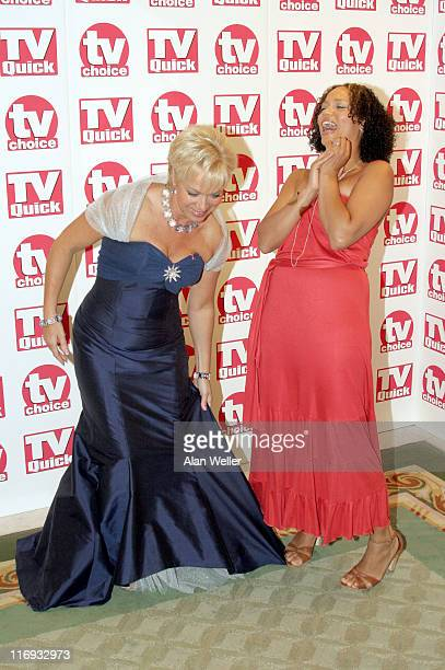 Denise Welsh and Anglea Griffin during TV Quick Awards TV Choice Awards Inside Arrivals at The Dorchester in London Great Britain