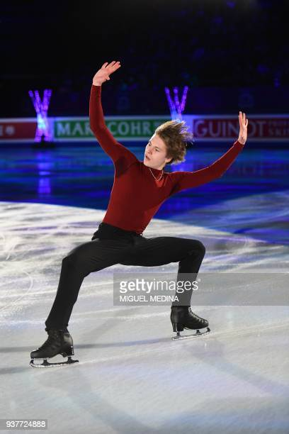 Deniss Vasiljevs from Latvia performs a routine during an Exhibition Gala at The World Figure Skating Championships 2018 in Milan on March 25 2018...