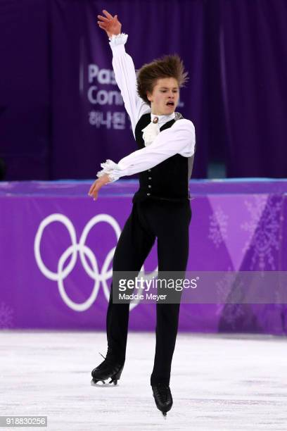 Deniss Vasiljevs of Latvia competes during the Men's Single Skating Short Program at Gangneung Ice Arena on February 16 2018 in Gangneung South Korea