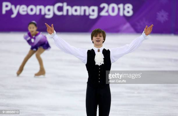 Deniss Vasiljevs of Latvia during the Figure Skating Men Short Program on day seven of the PyeongChang 2018 Winter Olympic Games at Gangneung Ice...