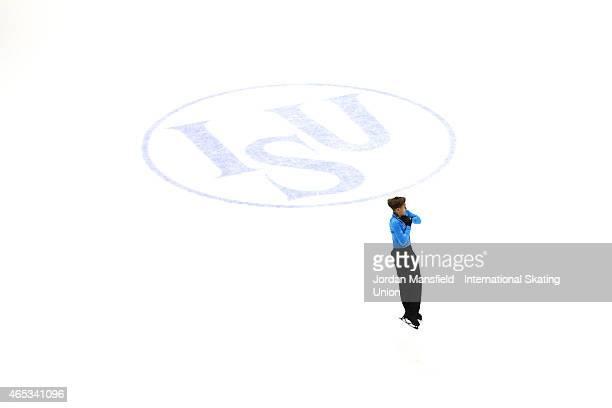 Deniss Vasiljevs of Latvia performs during the Men's Short Program on Day 3 of the ISU World Junior Figure Skating Championships at Tondiraba Ice...