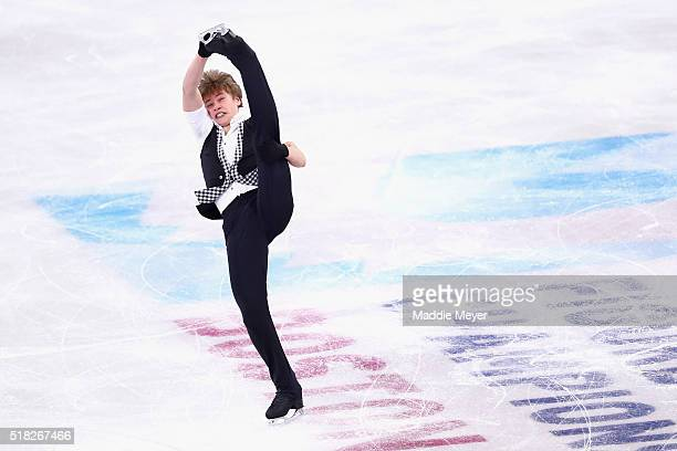 Deniss Vasiljevs of Latvia skates in the Men's Short program during day 3 of the ISU World Figure Skating Championships 2016 at TD Garden on March 30...