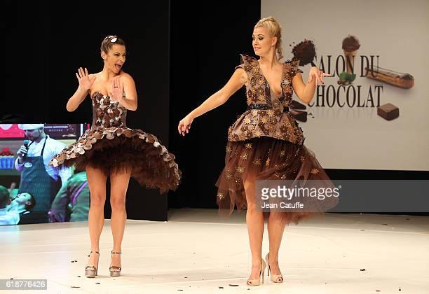 Denitsa Ikonomova and Katrina Patchett walk the runway during the Chocolate Fashion Show as part of Salon du Chocolat Paris 2016 at Parc des...