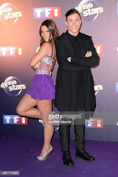 Denitsa Ikonomova and Loic Nottet pose during the 'Dances With The Stars' photocall on October 7 2015 in Paris France