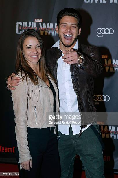 Denitsa Ikonomova and Rayane Bensetti attend the Captain America Civil War Paris Premiere Held at Le Grand Rex on April 18 2016 in Paris France
