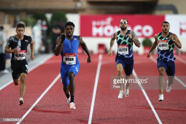 Deniz Almas of Germany, Noah Lyles of the United States, Ramil Guliyev of Turkey and Adam Gemili of Great Britain compete in the Men's 200 metres...
