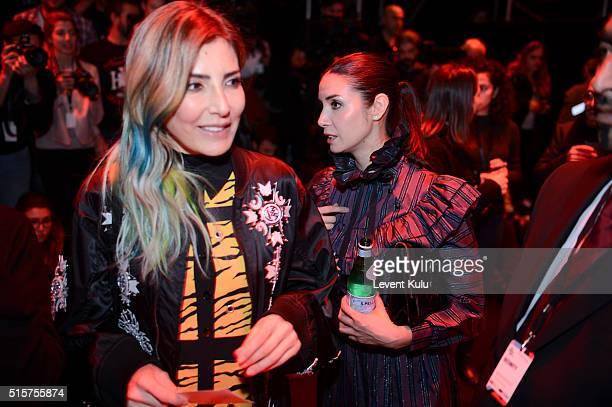 Deniz Berdan and Ahu Yagtu attend the Bora Aksu show during the MercedesBenz Fashion Week Istanbul Autumn/Winter 2016 at Zorlu Center on March 15...