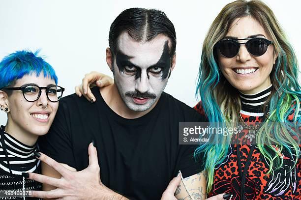 Deniz Berdan and Begum Berdan are seeing backstage at the Deniz Berdan show SS 2016 at Hilton Bomonti on November 23 2015 in Istanbul Turkey