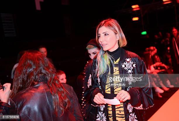 Deniz Berdan attends the Bora Aksu show during the MercedesBenz Fashion Week Istanbul Autumn/Winter 2016 at Zorlu Center on March 15 2016 in Istanbul...