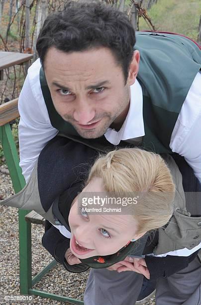 Deniz Cooper and Katharina Strasser pose during the 'Herrgott fuer Anfaenger' set visit in Vienna at Heuriger Sirbu on November 23 2016 in Vienna...