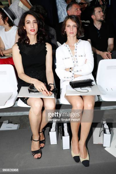 Deniz Gamze Erguven and Marine Vacth attend the Chanel Haute Couture Fall Winter 2018/2019 show as part of Paris Fashion Week on July 3, 2018 in...