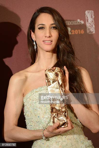 Deniz Gamze Erguven poses with her award of Best First Feature Film for the movie 'Mustang' during The Cesar Film Awards 2016 at Theatre du Chatelet...