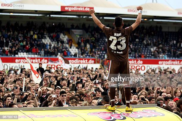 Deniz Naki of St Pauli celebrates after the Second Bundesliga match between SpVgg Greuther Fuerth and FC St Pauli at the Playmobil Stadium on May 2...