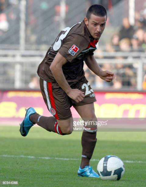 Deniz Naki of St. Pauli runs with the ball during the Second Bundesliga match between FC St. Pauli and Energie Cottbus at the Millerntor Stadium on...